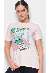 Camiseta Cantão Boyfriend Polaroid Feminina - Feminino-Off White