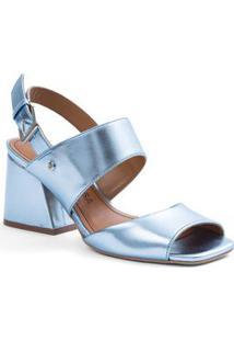 Sandalia Salto Medio Com Fivela Azul