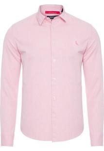 Camisa Masculina Regular Oxford - Rosa