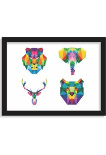 Quadro Decorativo Animais Abstrato Colorido Preto - Médio