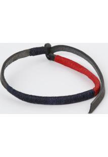 Pulseira Basic Red N Blue Em Couro - Preta & Vermelha