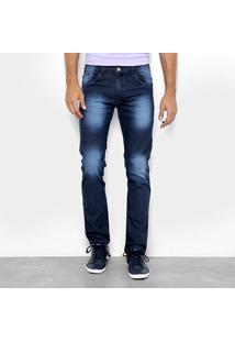 Calça Jeans Preston Amaciada Estonada Masculina - Masculino-Azul Escuro