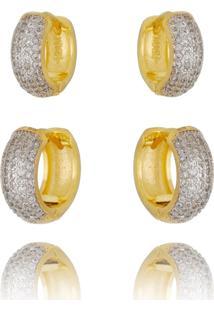 Kit De Brincos Argola Drusi Semi Joias Dourada Cravejadas De Zircã´Nias Cristal - Dourado - Feminino - Dafiti
