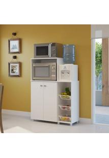 Armário Multiuso Para Forno E Microondas Com Fruteira Siena Móveis Branco