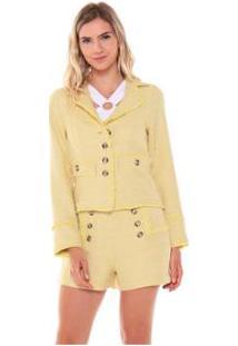 Jaqueta Blazer Tweed Botoes Studio 21 Fashion Feminina - Feminino-Amarelo Claro