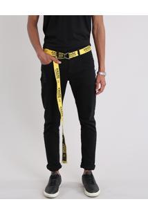 Calça Masculina Slim Com Cinto Amarelo E Preto