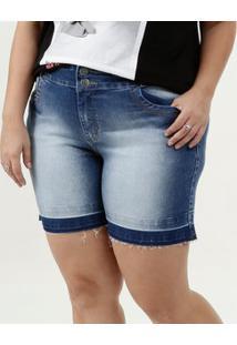 Short Feminina Jeans Barra Desfiada Plus Size Marisa