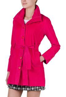 Casaco Trench Coat Unique De Veludo Rosa Pink