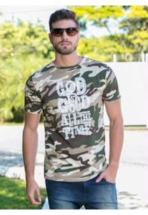 Camiseta Masculina Camuflada Com Estampa Frontal