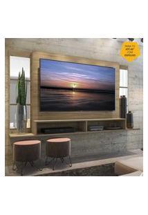 """Painel Tv 60"""" Com Espelho E Nichos Tókio Multimóveis Rustic"""