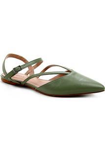 Sapatilha Couro Shoestock Bico Fino Tiras Feminina - Feminino-Verde Militar