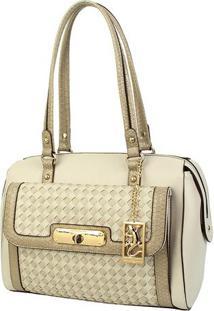 Bolsa Trançada Com Bag Charm - Bege - 24X31,5X15Cmfellipe Krein