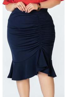 Saia Midi Plus Size Azul Drapeada
