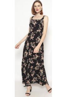 Vestido Longo Floral Com Franzidos- Preto & Begevip Reserva