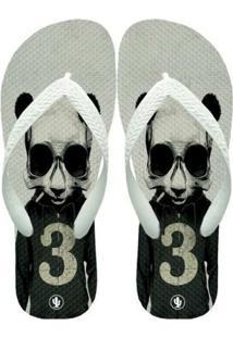 Chinelo Live Panda Hipster - Masculino-Branco