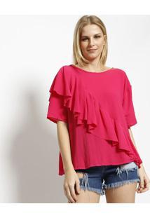 Blusa Texturizada Com Babado- Pink- ÁGua VivaãGua Viva