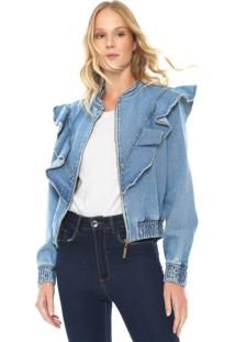 Jaqueta Bomber Jeans My Favorite Thing(S) Babados Azul