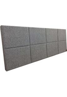 Cabeceira Estofada Solteiro Bloco Alce Couch Linho Cinza Claro 90Cm