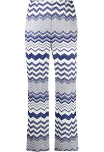 Missoni Calça Cropped De Tricô Com Padronagem Chevron - Azul