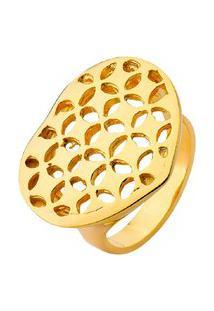 Anel Coração Com Textura Vazada Banhado A Ouro 18K