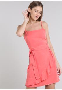 Vestido Feminino Curto Com Babado Alça Fina Coral