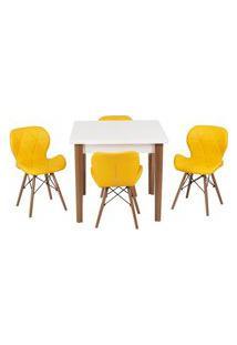 Conjunto Mesa De Jantar Luiza 80Cm Branca Com 4 Cadeiras Slim - Amarelo