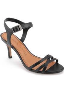 Sandalia Salto Medio Com Tiras Finas Preto