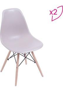 Jogo De Cadeiras Eames Dkr- Fendi & Madeira- 2Pçs