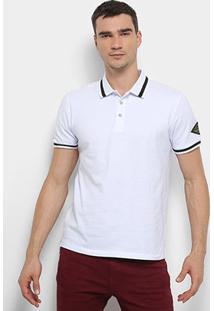 Camisa Polo Calvin Klein Kj Mc Bordado Manga Masculina - Masculino-Branco