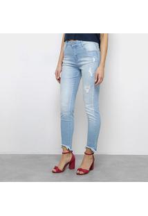 becb7f6f6 R$ 159,99. Zattini Calça Jeans Slim Morena Rosa Giane Barra Cropped  Desfiada Cintura Alta Feminina ...