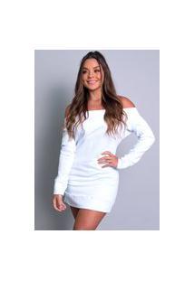 Vestido Mvb Modas Moletom Flanelado Ombro A Ombro Branco