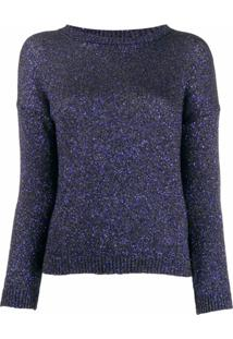 Saint Laurent Suéter Decote Careca Com Brilho - Azul