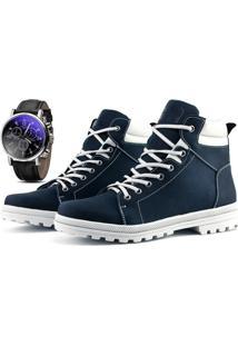 Bota Coturno Com Relógio Juilli Adventure Social 02 Azul