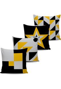 Kit 4 Capas Almofadas Figuras Geometrica Amarelo Preto 45X45