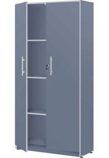 Armário Para Escritório 2 Portas Luxo Plata Móveis Azul/Cinza