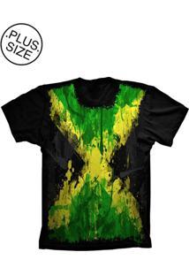 Camiseta Lu Geek Plus Size Flag Jamaica Preto