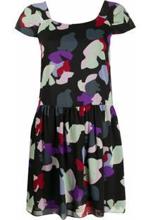 Emporio Armani Vestido Mini Com Estampa Floral - Preto
