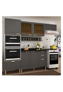 Cozinha Completa 7 Peças Americana Multimóveis 5912Mf Branco/Grafite