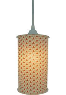 Luminária Pendente Cilíndrica Crie Casa Triangulos Laranja E Bege