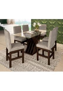Conjunto De Mesa Com 6 Cadeiras Lucca Suede Tabaco