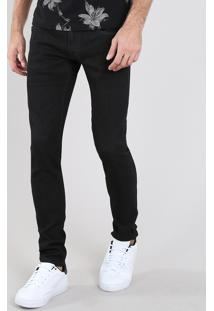 Calça Jeans Masculina Slim Com Bolsos Preta