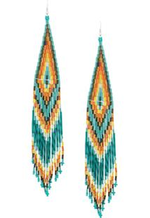 Jessie Western Beaded Long Earrings - Green