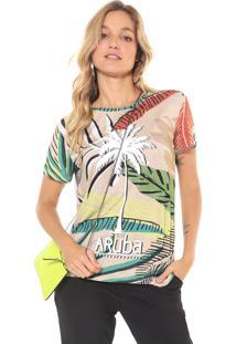 Camiseta Lez A Lez Icacos Bege/Verde