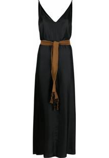 Alysi Vestido De Seda Com Cinto - Preto