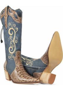Bota Texana Couro Country Capelli Boots Jacaré Feminina - Feminino-Azul