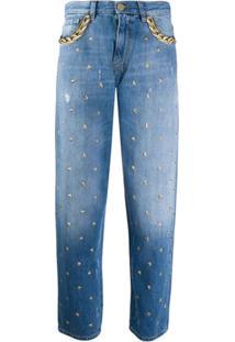Pinko Mom Jeans Com Tachas De Estrela - Azul