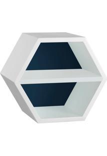 Nicho Hexagonal Favo Ii Com Prateleira Branco Com Azul Noite E Branco