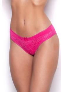 Calcinha Tanga Gatria Renda Sobreposta Frente Feminina - Feminino-Pink