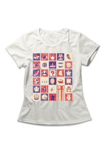 Camiseta Feminina Mario World Off-White