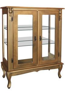 Cristaleira Baixa Isaac Com Espelho Com 2 Prateleiras - Ouro Envelhecido